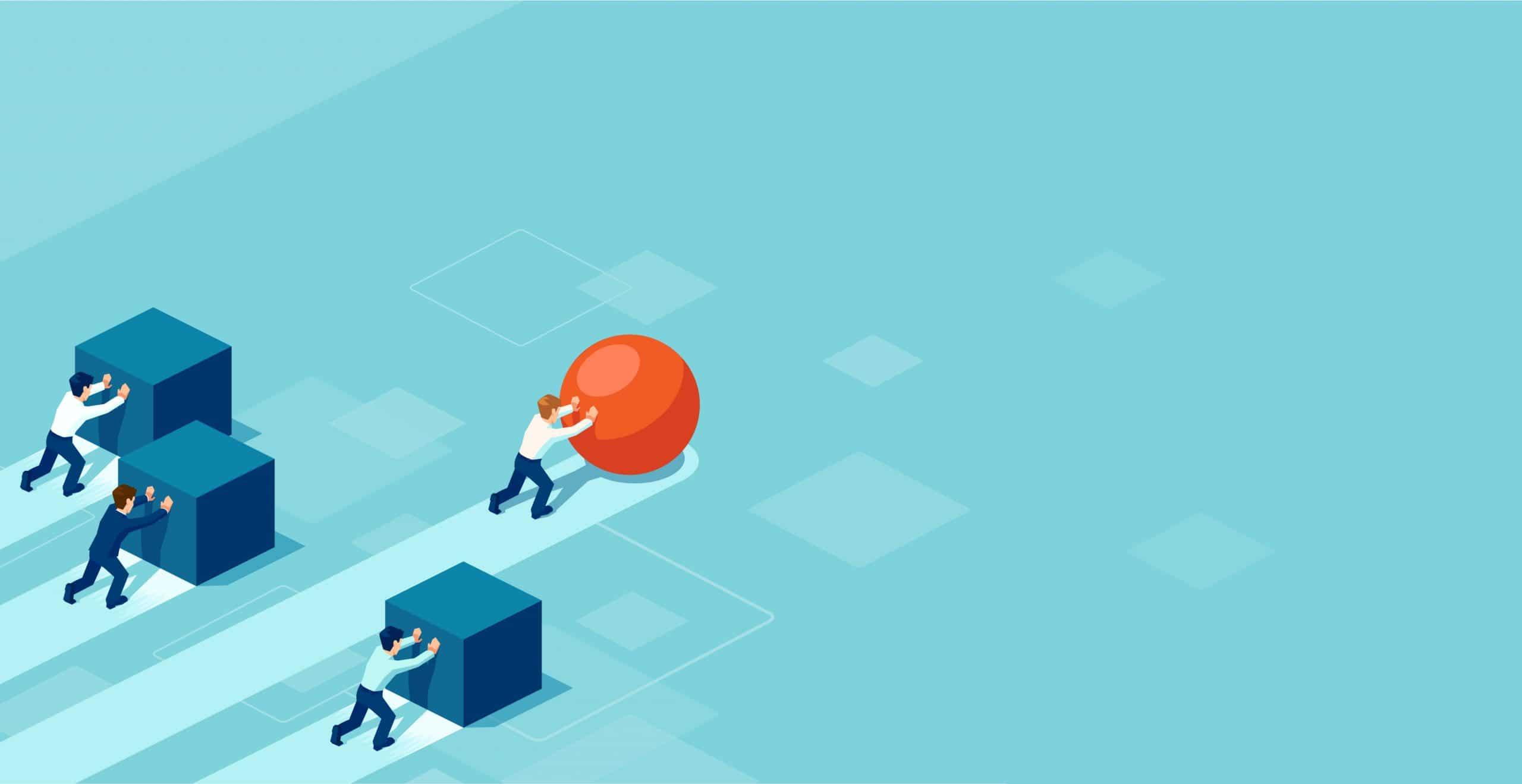 Travailler efficacement - homme poussant une sphère dépassant des personnes qui poussent des cubes