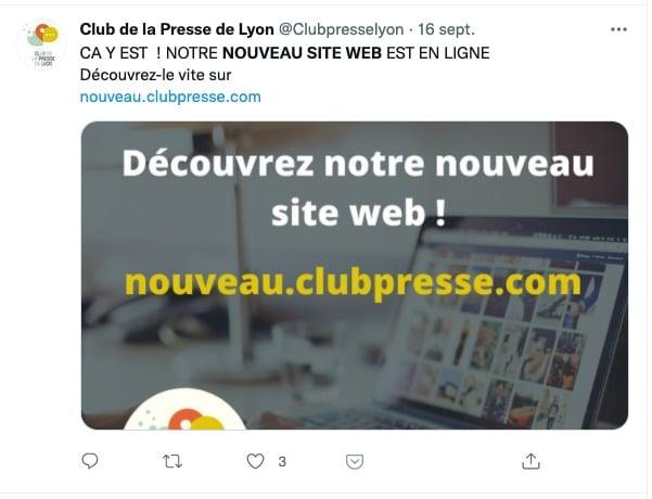 Copie écran d'un tweet  daté du 16 septembre 2021 du Club de la presse de Lyon annonçant la publication de leur nouveau site web.