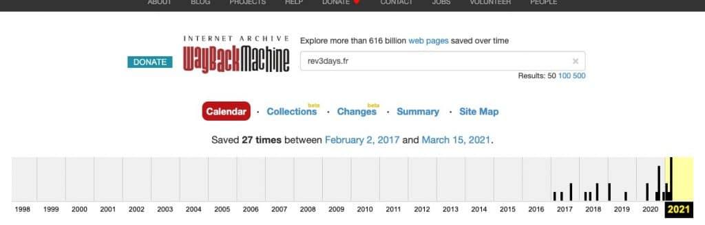Page de résultat de la Wayback Machine de Archive.org pour le domaine rev3days.fr